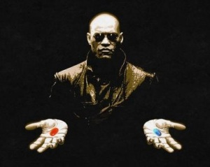 The Matrix - Red or Blue Pill Wallpaper by TelephoneWallpaper.com