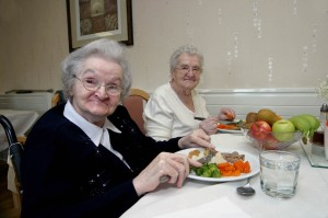 29.11.07. Enjoying healthy meals at Glanmarlais Care Home, Llandybie, Ammanford, left Mair Mills & right Olivia Jones. Picture Ralph Carpenter.